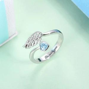 "Y-Personalized ""Forever by My Side"" Angel Wing Ring"