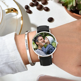 Personalized Engraved Watch, Photo Watch With Black Leather Strap 40mm