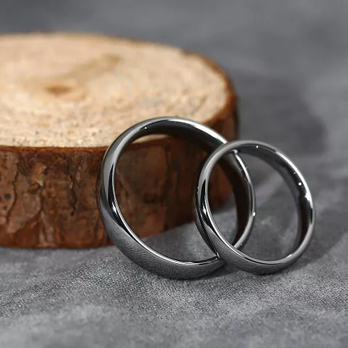 Couple Rings Polished Black Tungsten(Custom name)
