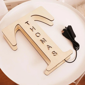Custom Wooden Engraved Name Wall Light Personalized Night Lights