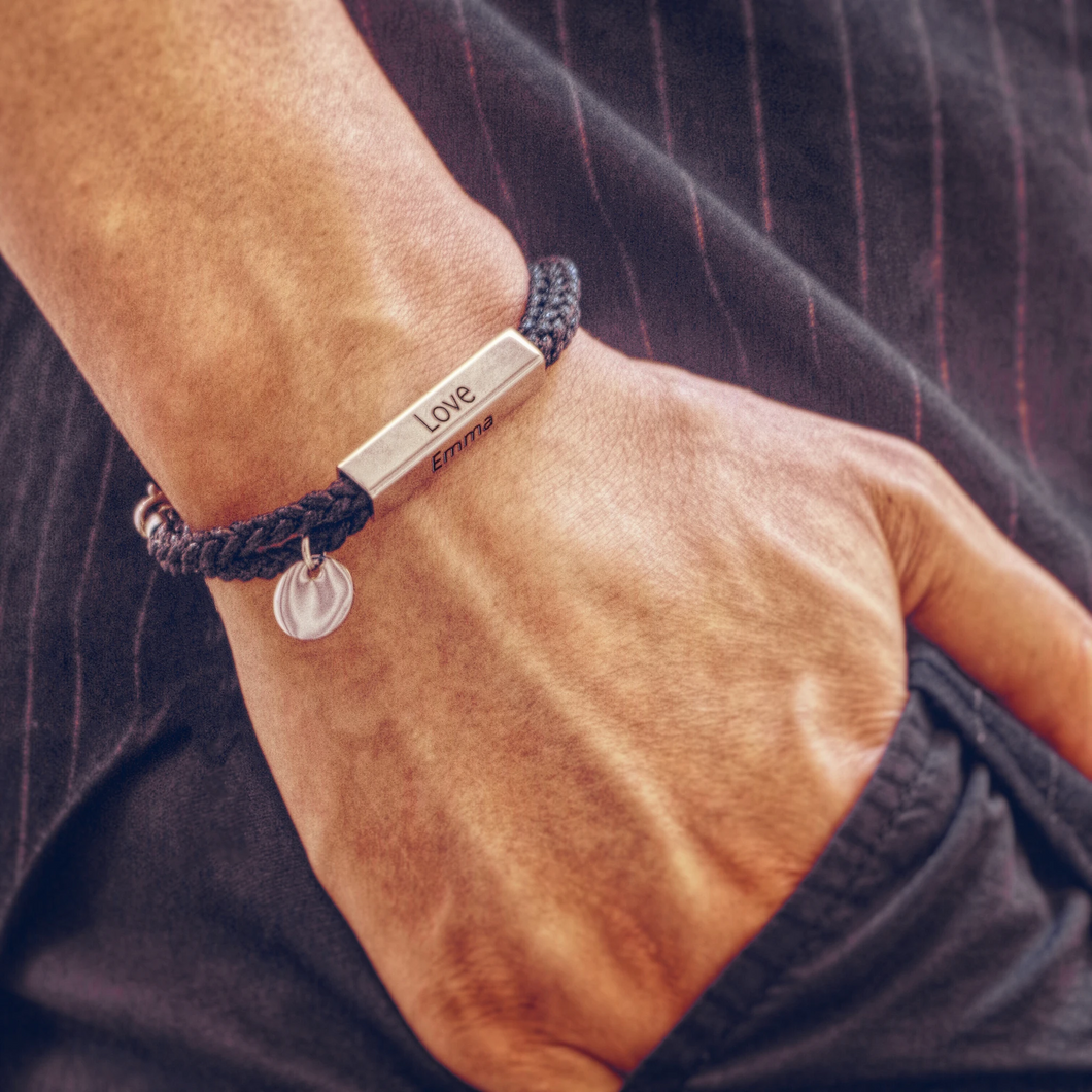 Men Bracelet Braided Cable Wrap with Silver Bar