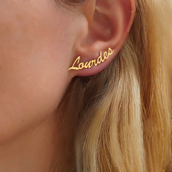 Pair Of Script Name Earrings