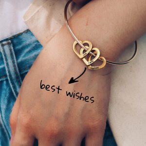 Family Bangle Bracelet with Heart Shape Pendants