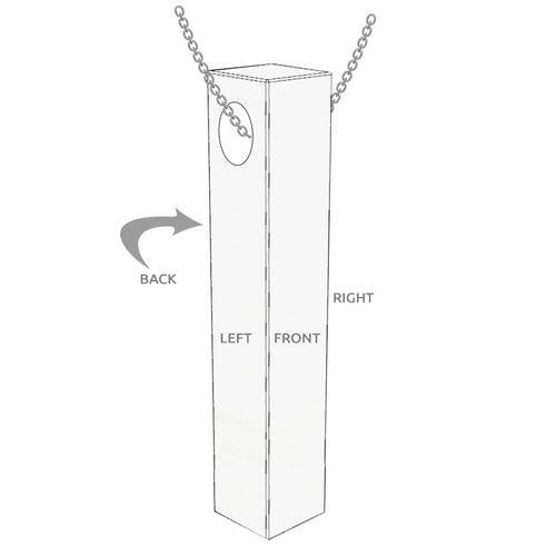 Engraved 3D Bar Necklace in Sterling Silver