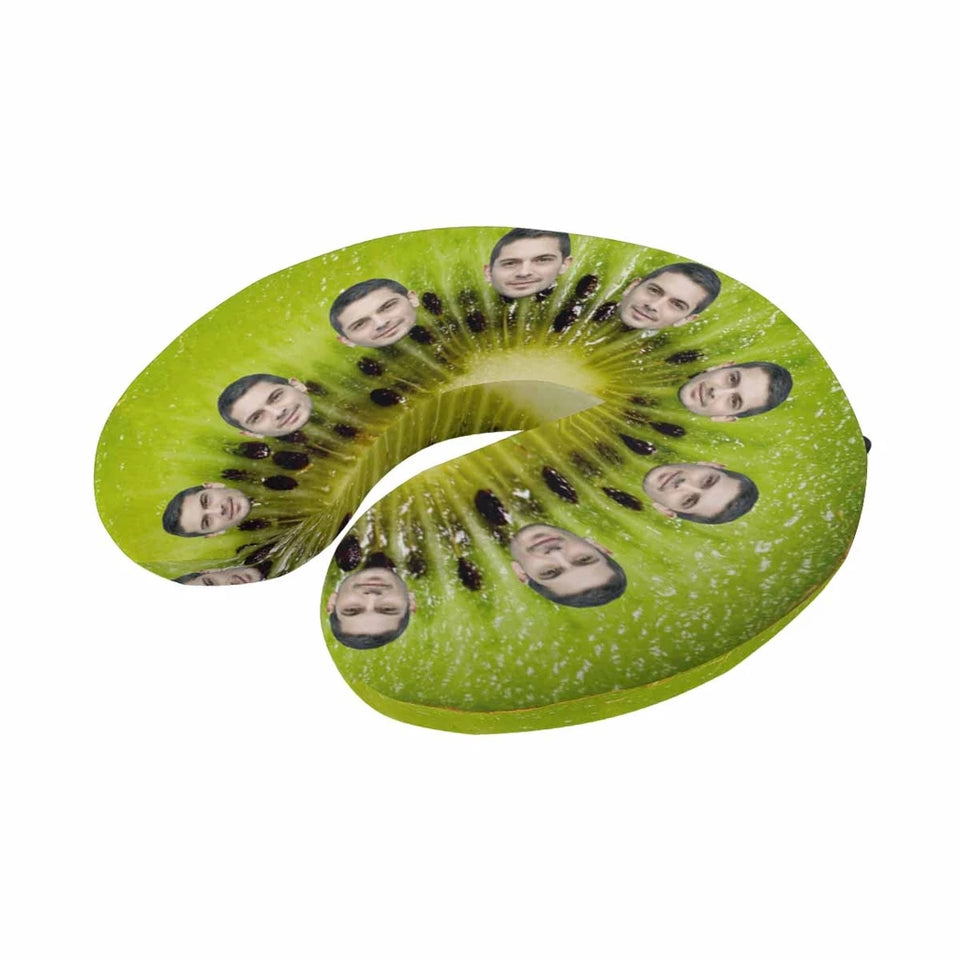 Custom Face Kiwi Fruit U-Shaped Travel Neck Pillow