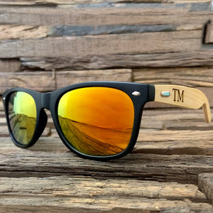 Personalized wood polarized sunglasses
