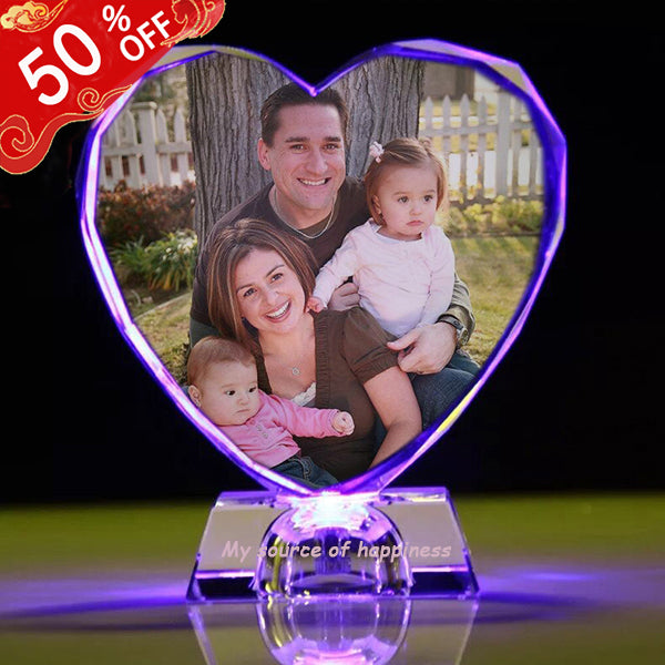 Personalized Colorful Lights Crystal Photo Ornaments Heart Shape