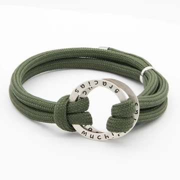 Rope Bracelet for Men with Engraved Hoop