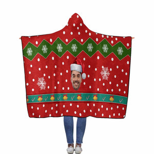 Custom Face Christmas Gift Flannel Hooded Blanket