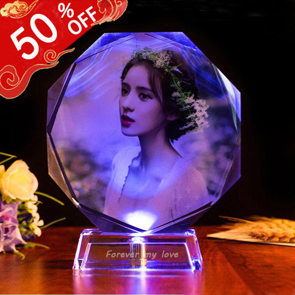 Personalized Colorful Lights Crystal Photo Ornaments