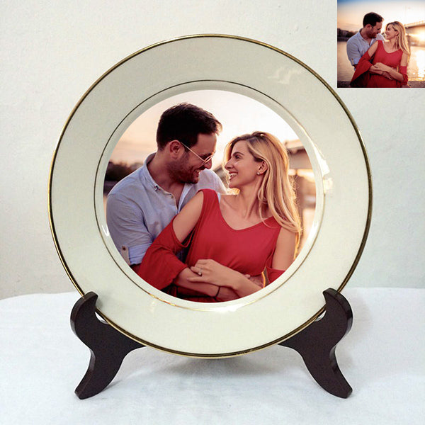 Custom photo porcelain plate decoration(Gold-Rimmed, with Stand)