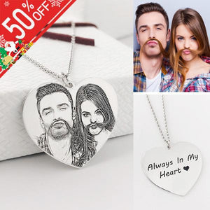 Personalized Photo Necklace Heart Shaped