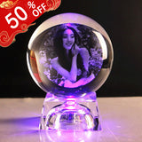 Personalized Colorful Lights Crystal Photo Ornaments Circle Shape