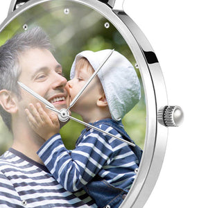 Father's Birthday Gift - Personalized Engraved Watch, Photo Watch With Black Leather Strap 40mm