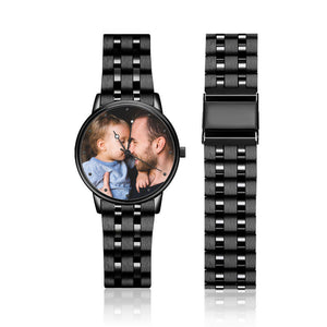 Engraved Men's Black Alloy Bracelet Photo Watch 38mm