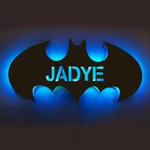 Personalized 12-Color Wooden Bat LED Lamp With Name