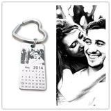 Personalized photo calendar keychain love date stainless steel souvenir