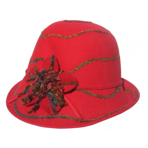 Red wool ladies dress hat.