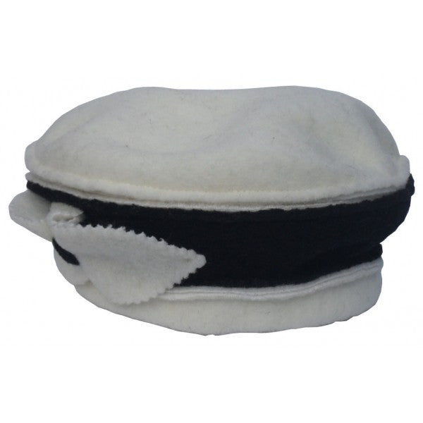 Marino wool hat with black stripe and bow on side. More colors available.  Made in Italy.
