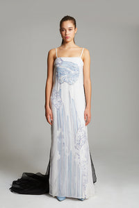 Waterfall embroidered gown