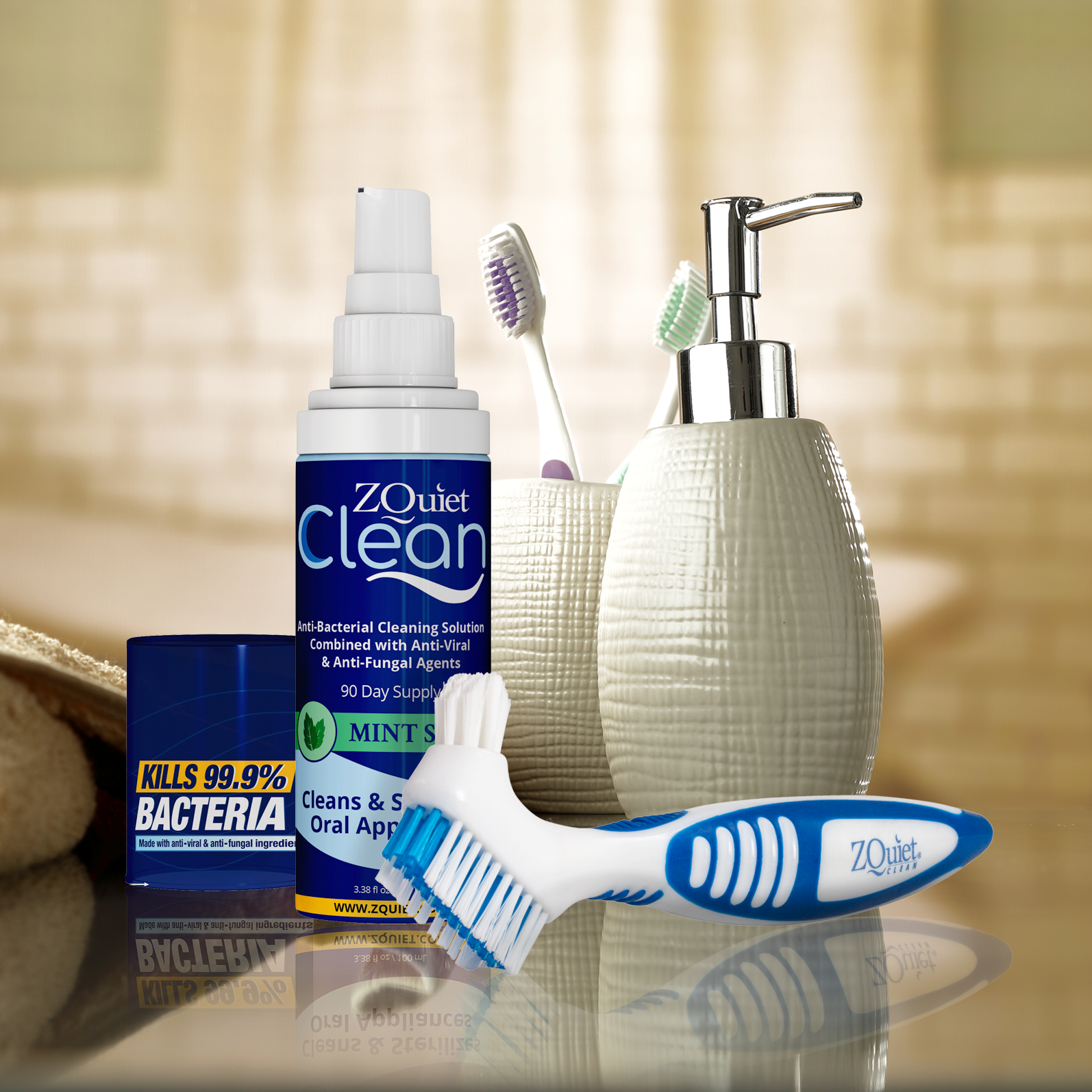 ZQuiet Clean disinfectant oral device cleaner