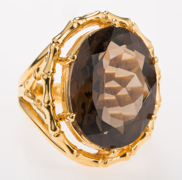 Bamboo Smoky Quartz Ring