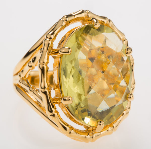 Bamboo Lemon Citrine Ring