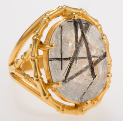 Bamboo Tourmalated Quartz Ring