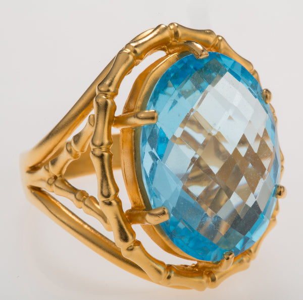 Bamboo Sky Blue Topaz Ring
