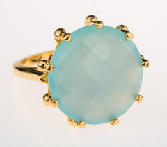 Crown Aqua Chalcedony Ring