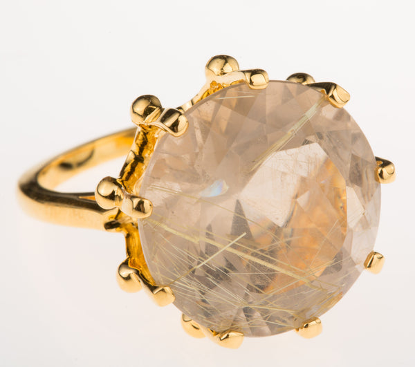 Crown Rutilated Quartz Ring