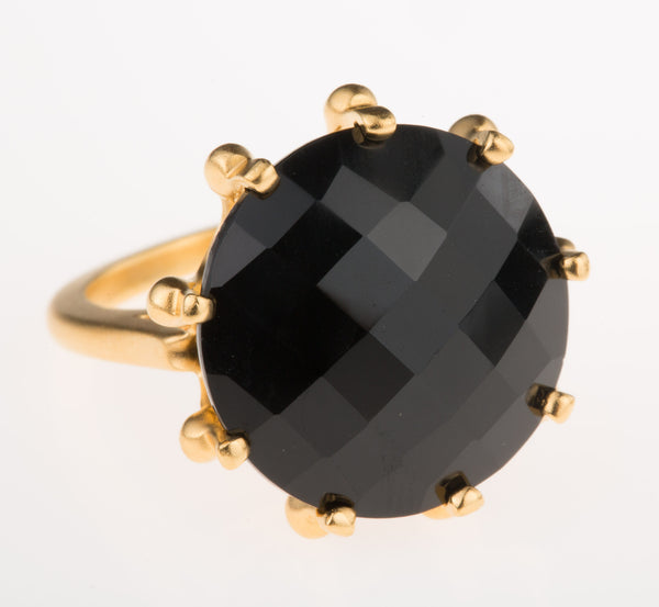 Crown Black Onyx Ring