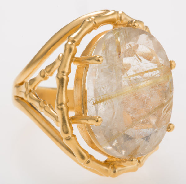Bamboo Rutilated Quartz Ring