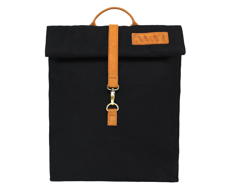 Vintage urban organic cotton black backpack