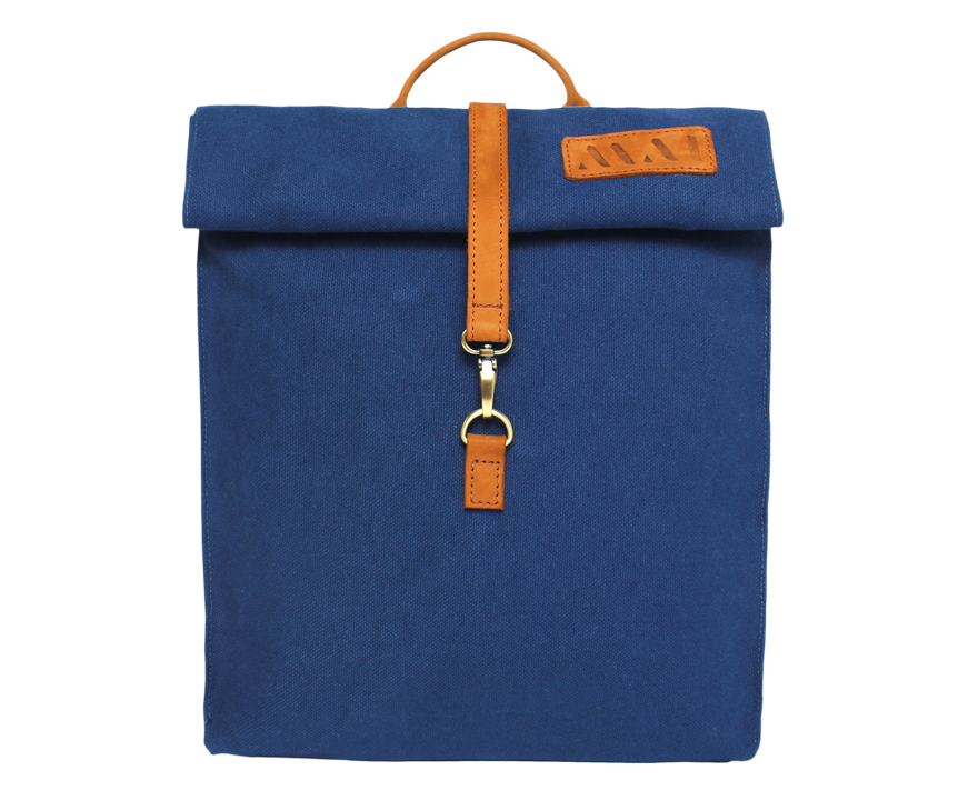 Vintage urban organic cotton blue backpack