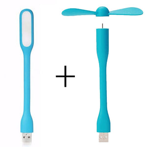 Portable Mini Fan and USB LED Light Lamp
