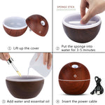 USB Wood Grain Essential Oil Diffuser Humidifier