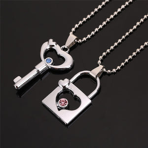 Cheap Couples Necklace Hollow Key Lock Crystal