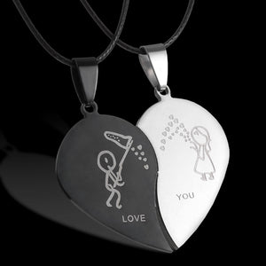 Cheap Couples Necklace Broken Heart Lover Chain