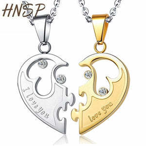 Cheap Couples Necklace HNSP Half Heart Lovers Chain