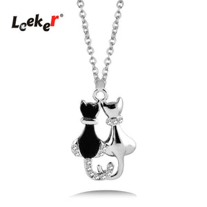 Cheap Couples Necklace Vintage Animal Couple Cat