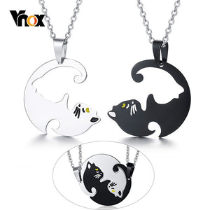 Cheap Couples Necklace Vnox Cute His and Her Beloved Cat