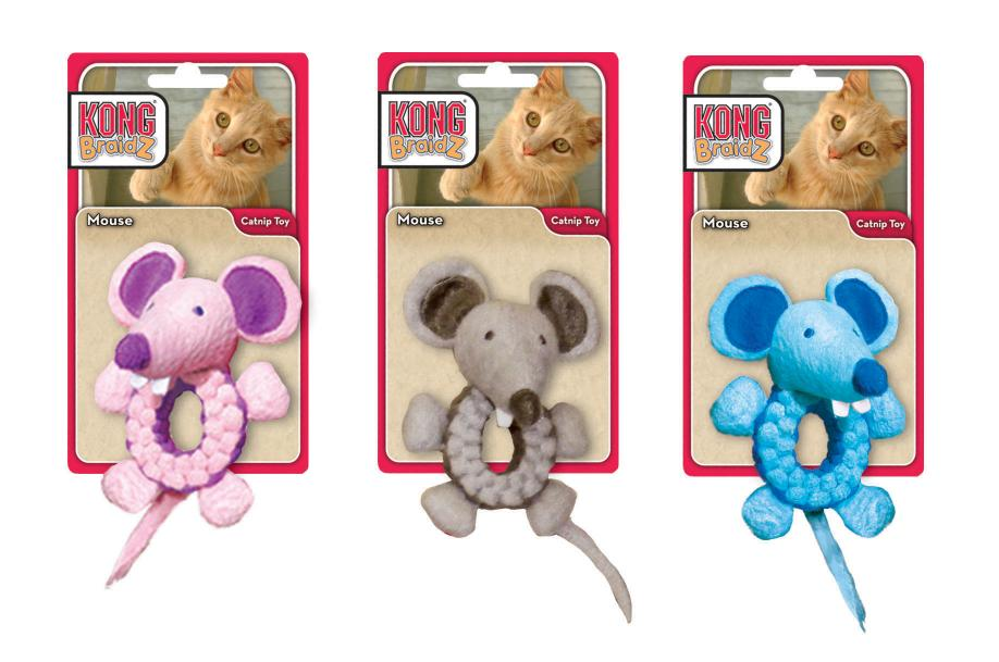 KONG Braidz Round Mouse (Assorted)