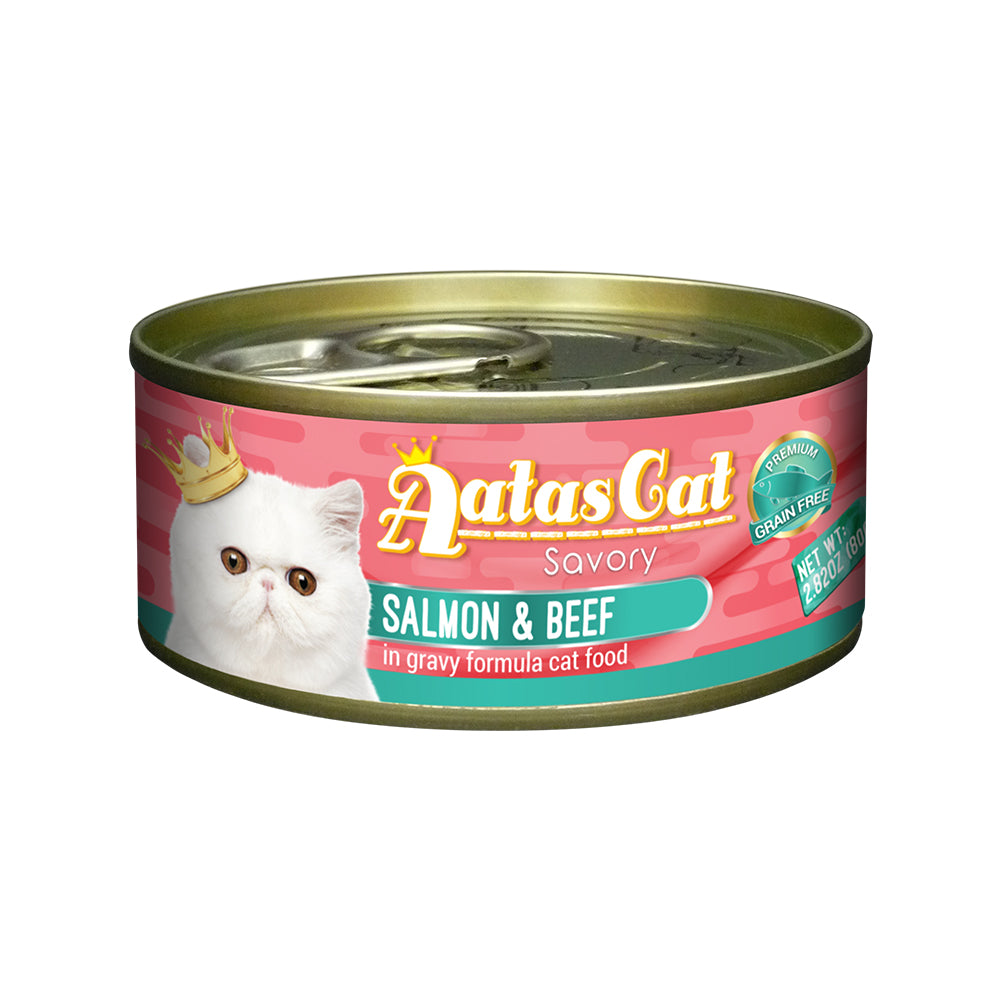 Aatas Cat Savory Salmon and Beef in Gravy Canned Cat Food