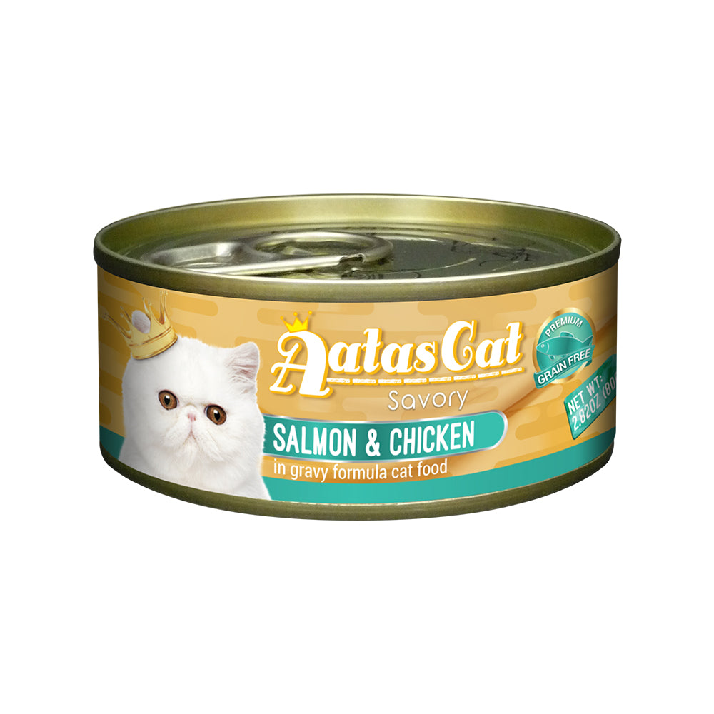 Aatas Cat Savory Salmon and Chicken in Gravy Canned Cat Food