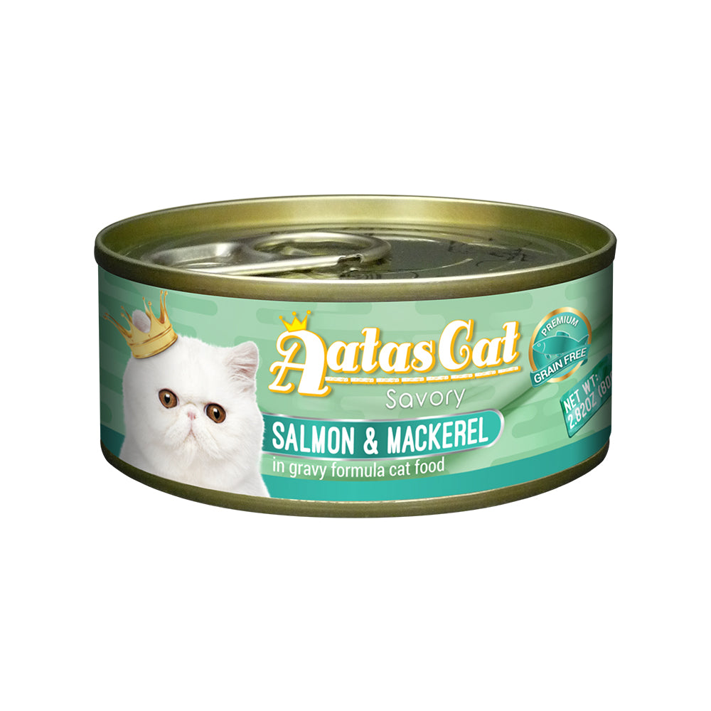 Aatas Cat Savory Salmon and Mackerel in Gravy Canned Cat Food