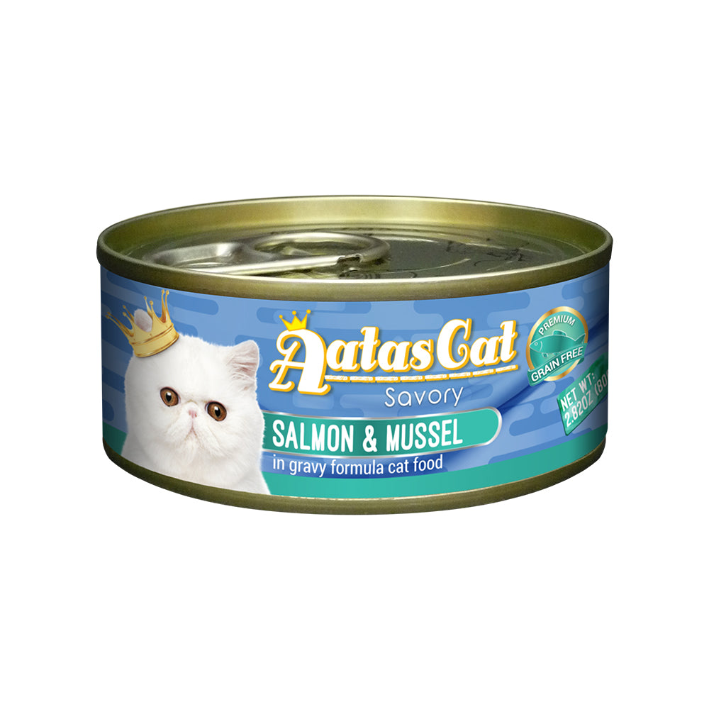 Aatas Cat Savory Salmon and Mussel in Gravy Canned Cat Food  80g