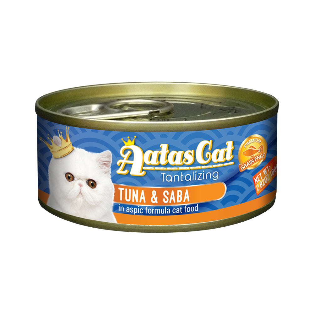 Aatas Cat Tantalizing Tuna and Saba in Aspic Canned Cat Food 80g