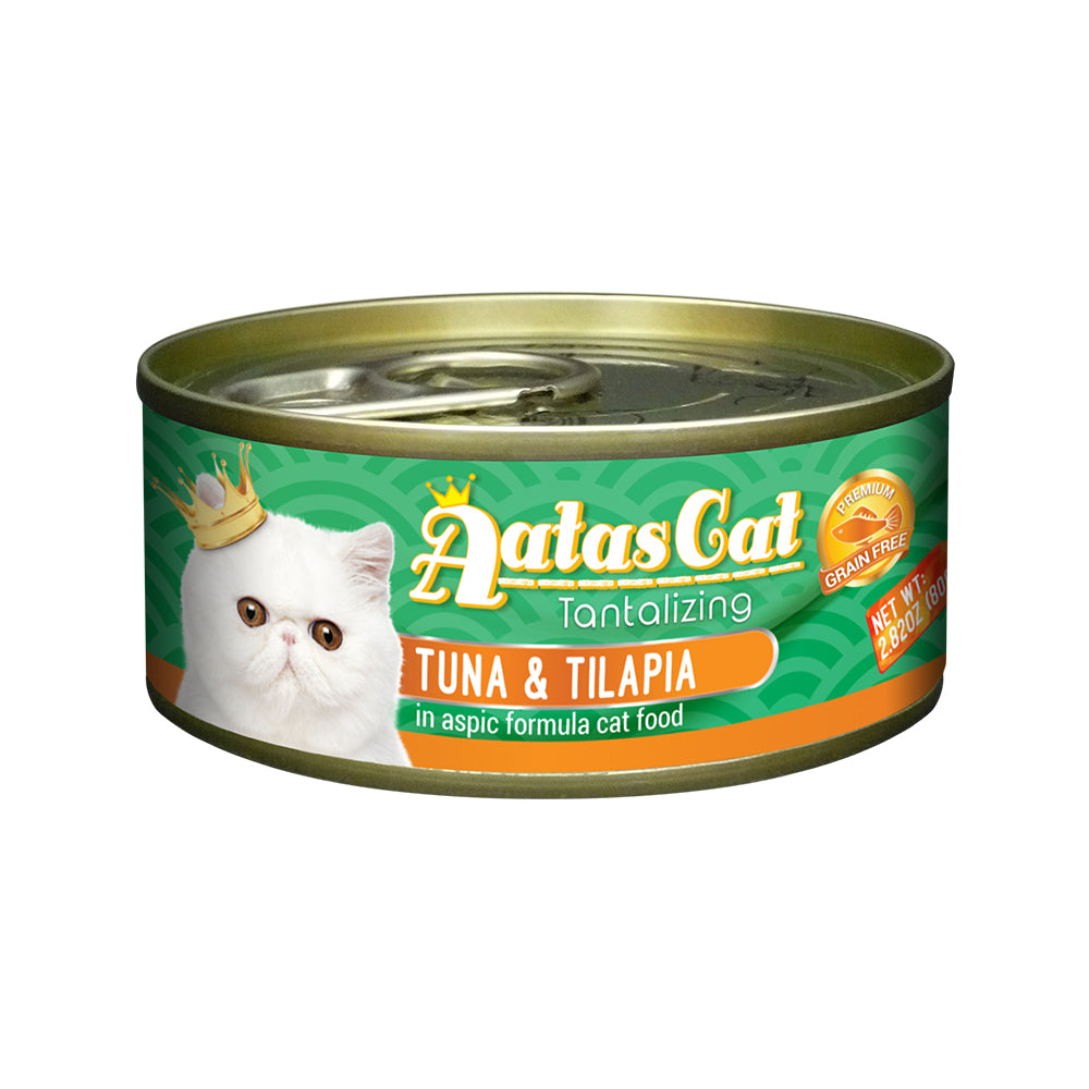 Aatas Cat Tantalizing Tuna and Tilapia in Aspic Canned Cat Food 80g