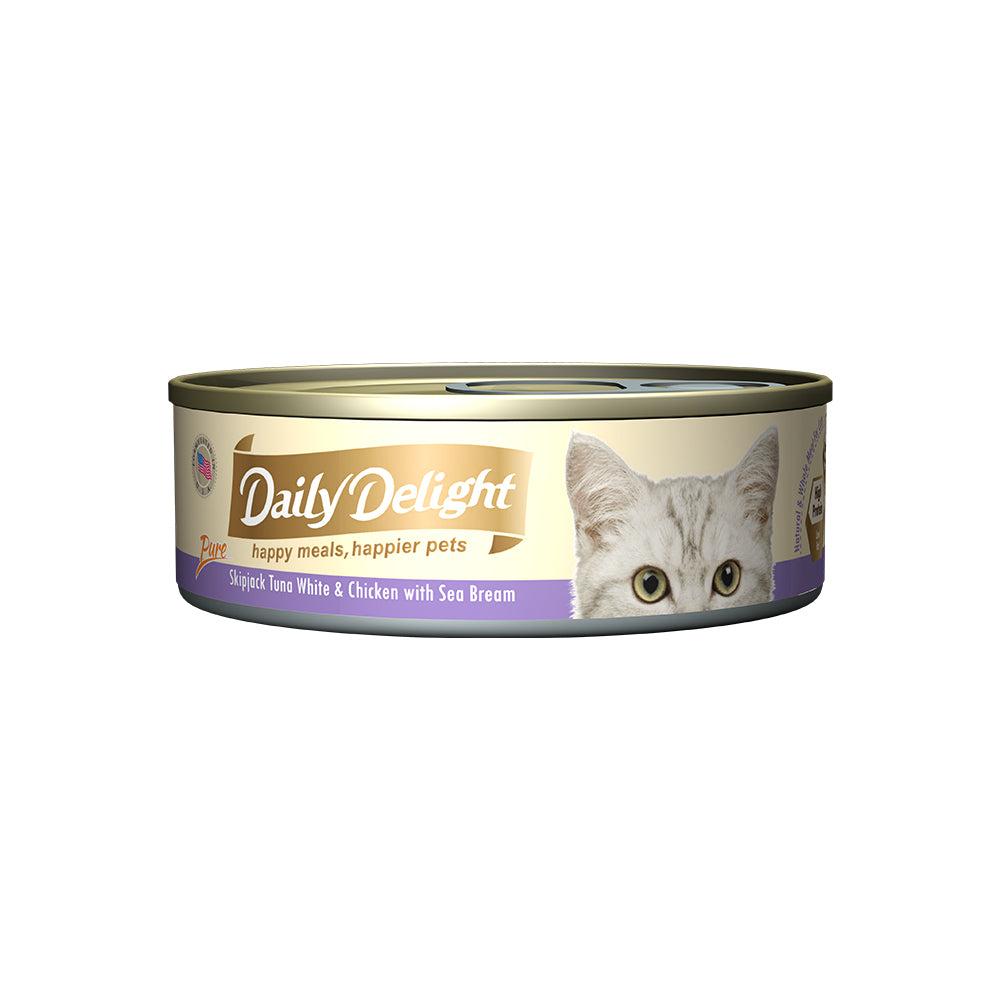 Daily Delight Pure Skipjack Tuna White and Chicken with Sea Bream 80g x 24 cans